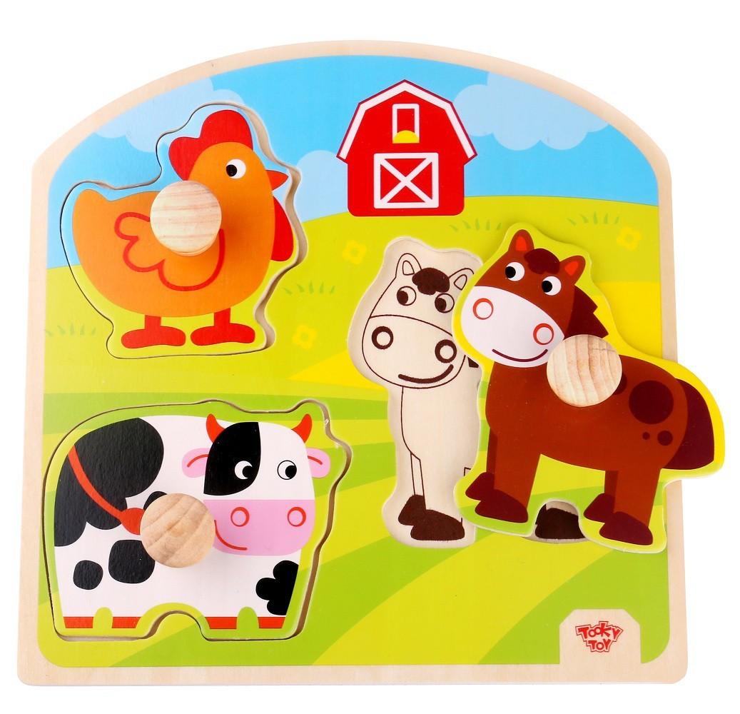Brinquedo Educativo de Madeira Tabuleiro Médio de Encaixe Fazenda