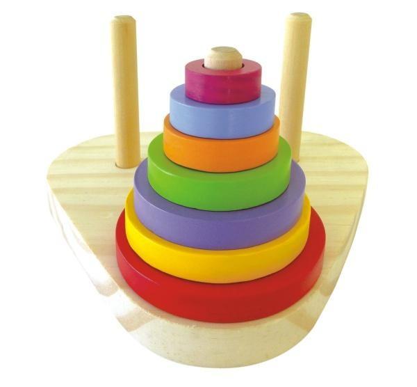 Torre de Hanói Triangular Brinquedo Educativo de Madeira