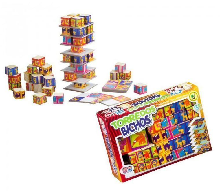 Brinquedo Educativo de Madeira Torre dos Bichos