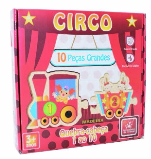 Brinquedo Educativo de Madeira Trem do 1 ao 10 Circo