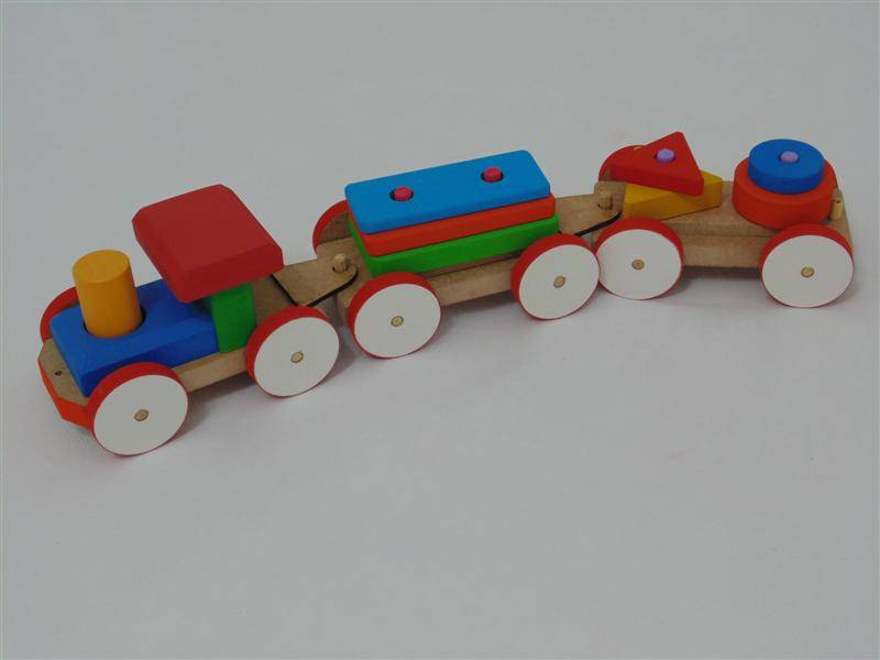 Brinquedo Educativo de Madeira Trem Pedagógico Fitas