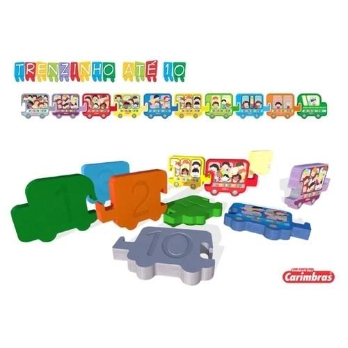 Brinquedo Educativo de Madeira Trenzinho até 10 para montar