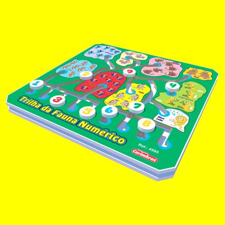 Brinquedo Educativo de Madeira Trilha da Fauna Numérico