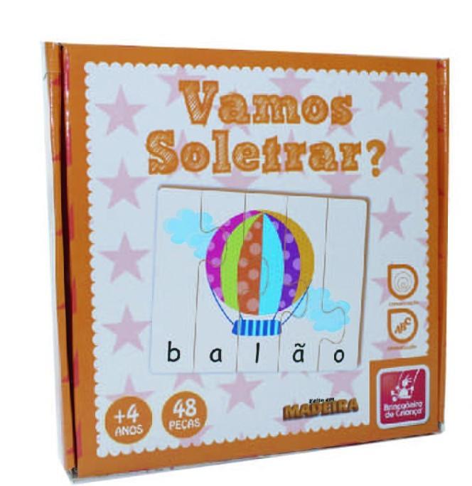 Brinquedo Educativo de Madeira Vamos Soletrar?