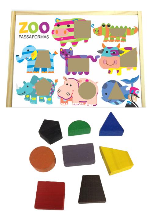 Brinquedo Educativo de Madeira Zoo Caixinha Passa Formas