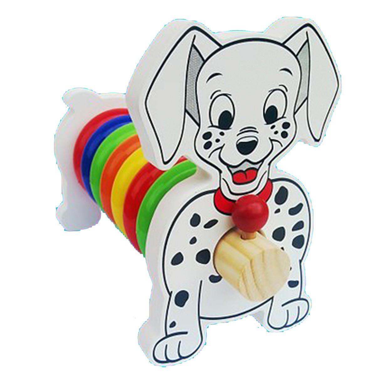 Cachorrinha Alegre de Madeira Brinquedo Educativo de Madeira para Montar