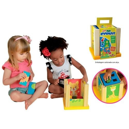 Brinquedo Educativo de Montar de Madeira Caixa Duo Atividades Cubo