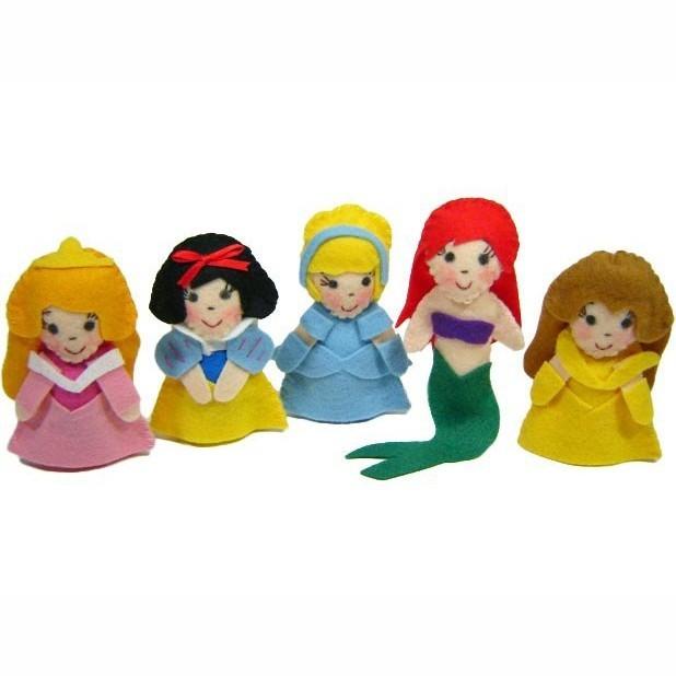 Brinquedo Educativo Dedoches em Feltro 5 Princesas
