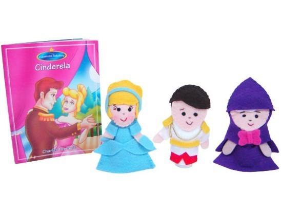 Brinquedo Educativo Dedoches em Feltro com Livro Cinderela