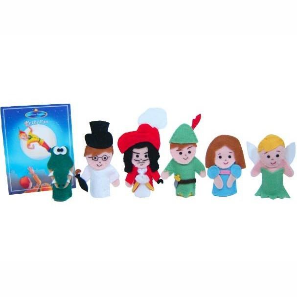 Brinquedo Educativo Dedoches em Feltro com Livro Peter Pan