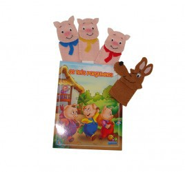 Brinquedo Educativo Dedoches em Feltro Os 3 Porquinhos