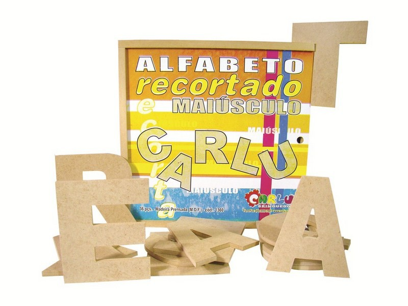 Brinquedo Educativo em Madeira Alfabeto Recortado Maiusculo Grande