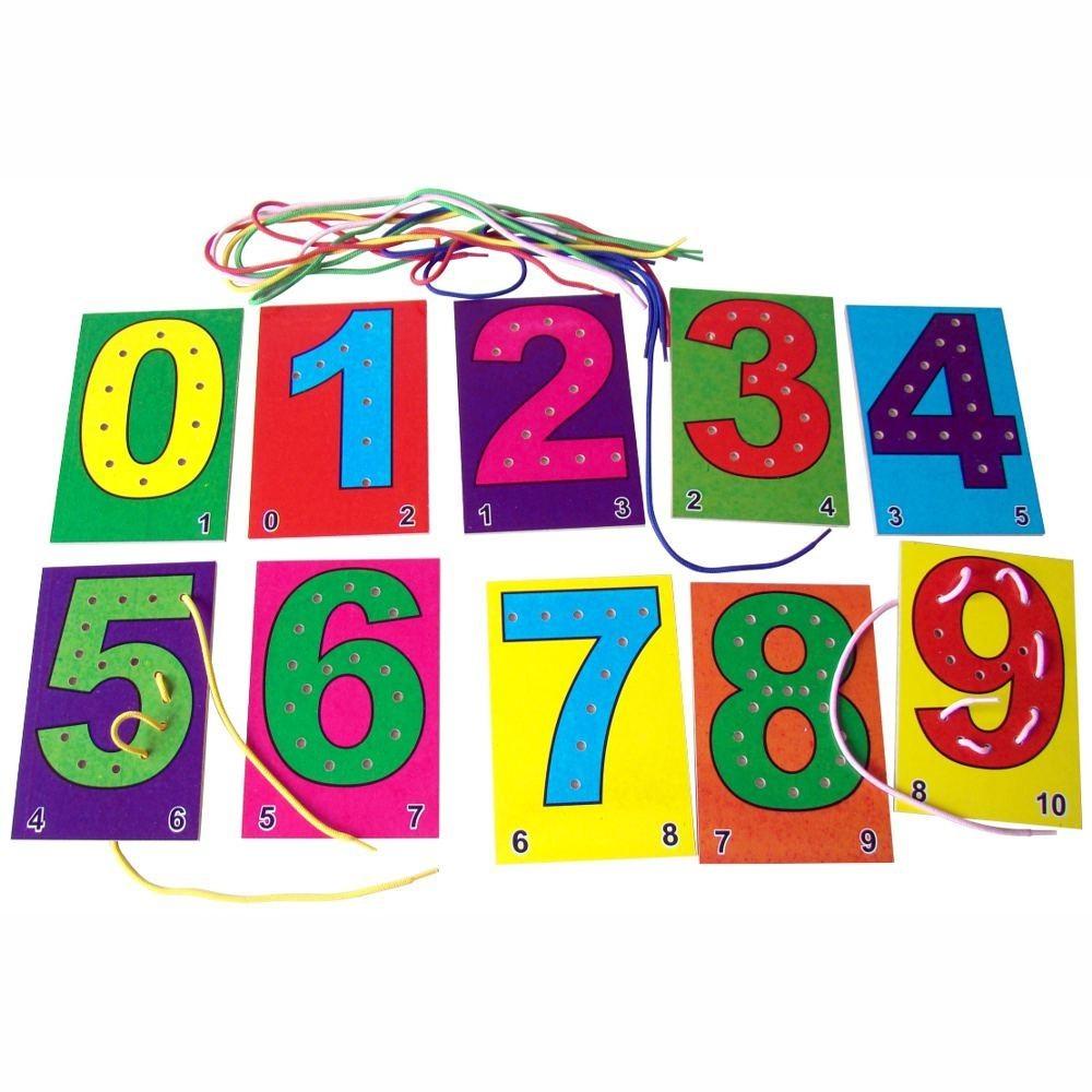 Alinhavo de Números Brinquedo Educativo em Madeira