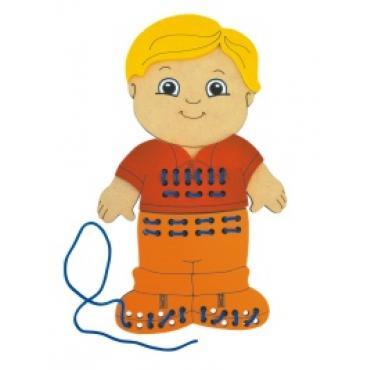 Alinhavo Menino Brinquedo Educativo em Madeira