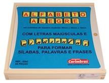Brinquedo Educativo em Madeira para Alfabetização Alfabeto Alegre