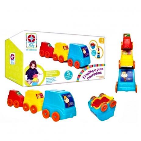 Brinquedo Educativo Empilha e Puxa Carrinhos Estrela