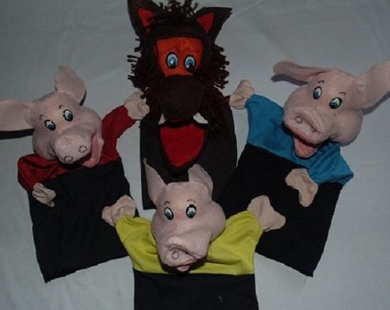 Brinquedo Educativo Fantoche Conjunto Os 3 Porquinhos 4 Personagens