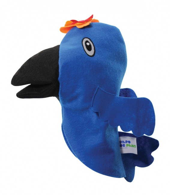 Brinquedo Educativo Fantoche de Mão Arara Azul