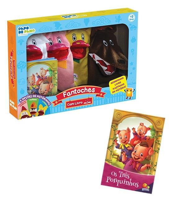 Brinquedo Educativo Fantoches Com Livro Os 3 Porquinhos