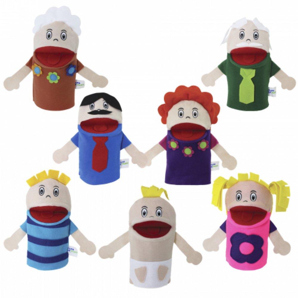 Brinquedo Educativo Fantoches Família Branca com 7 Personagens