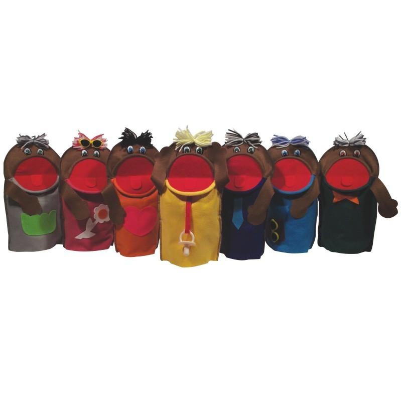 Brinquedo Educativo Fantoches Família Negra com 7 Personagens
