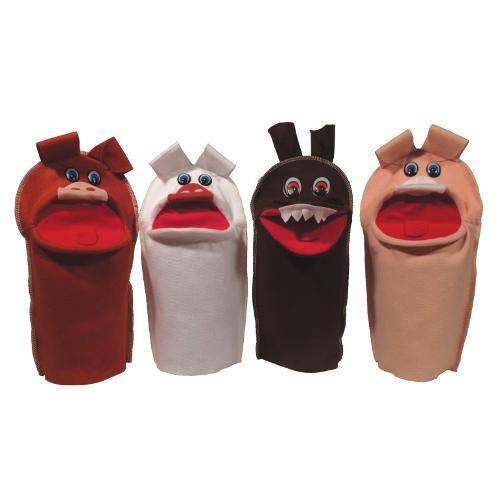 Brinquedo Educativo Fantoches Três Porquinhos com 4 Personagens