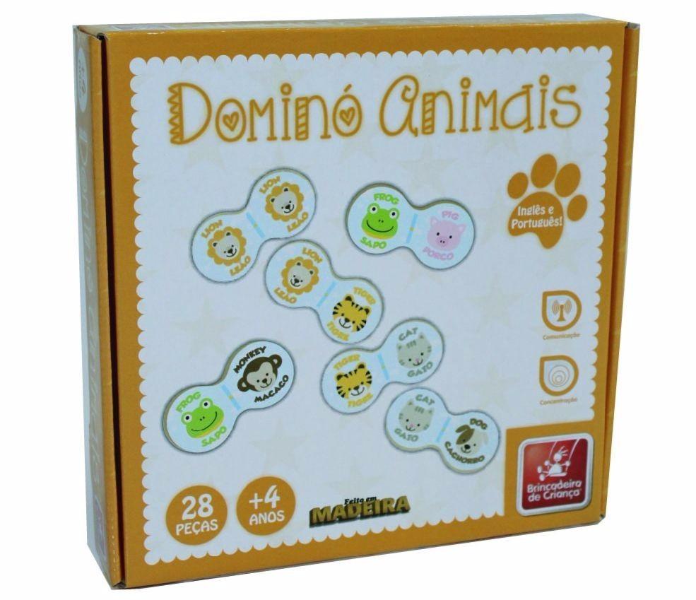 Brinquedo Educativo Jogo de Dominó de Madeira Animais