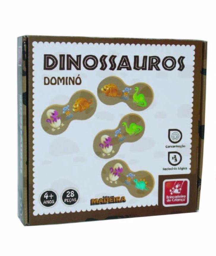 Brinquedo Educativo Jogo de Dominó de Madeira Dinossauro