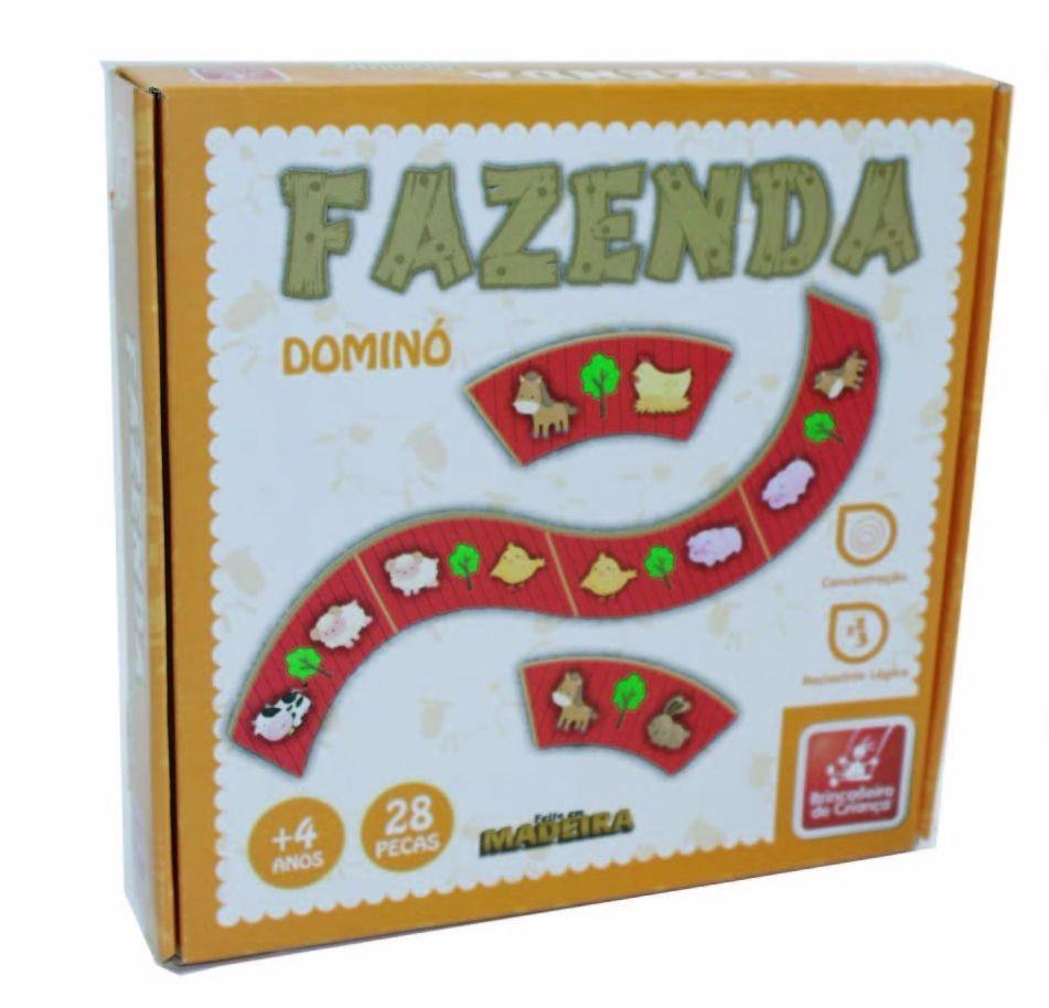 Brinquedo Educativo Jogo de Dominó de Madeira Fazenda