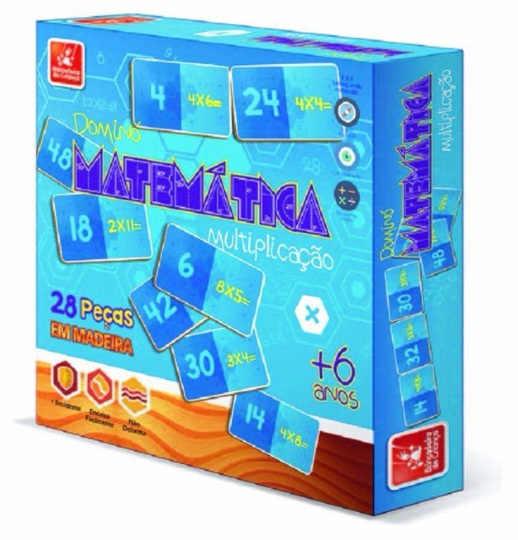 Brinquedo Educativo Jogo de Dominó de Madeira Operações Multiplicação