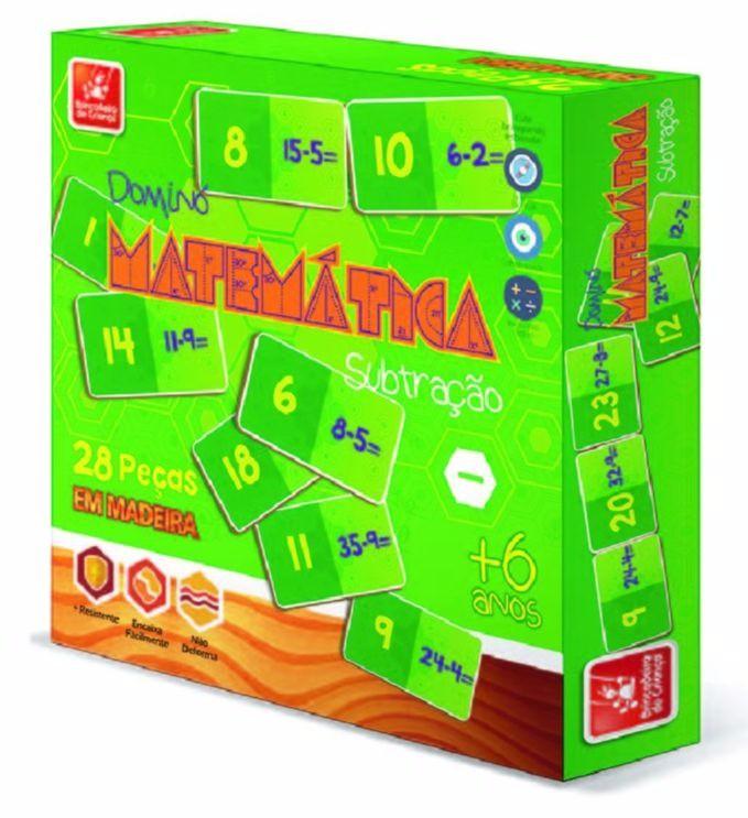 Brinquedo Educativo Jogo de Dominó de Madeira Subtrações