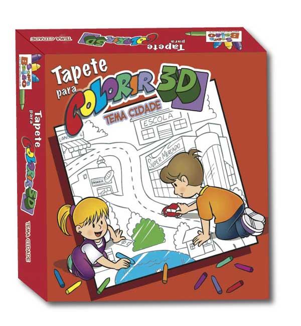 Brinquedo Educativo Kit Arte Tapete para Colorir Cidade Pinta e Apaga
