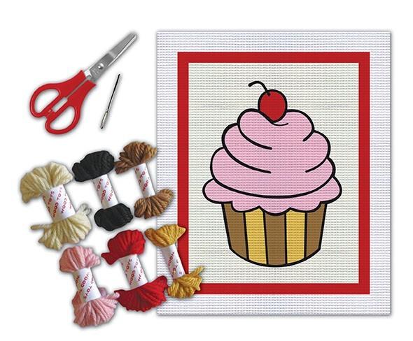 Brinquedo Educativo Kit para Bordado e Colagem em Tela Desenhada Cupcake
