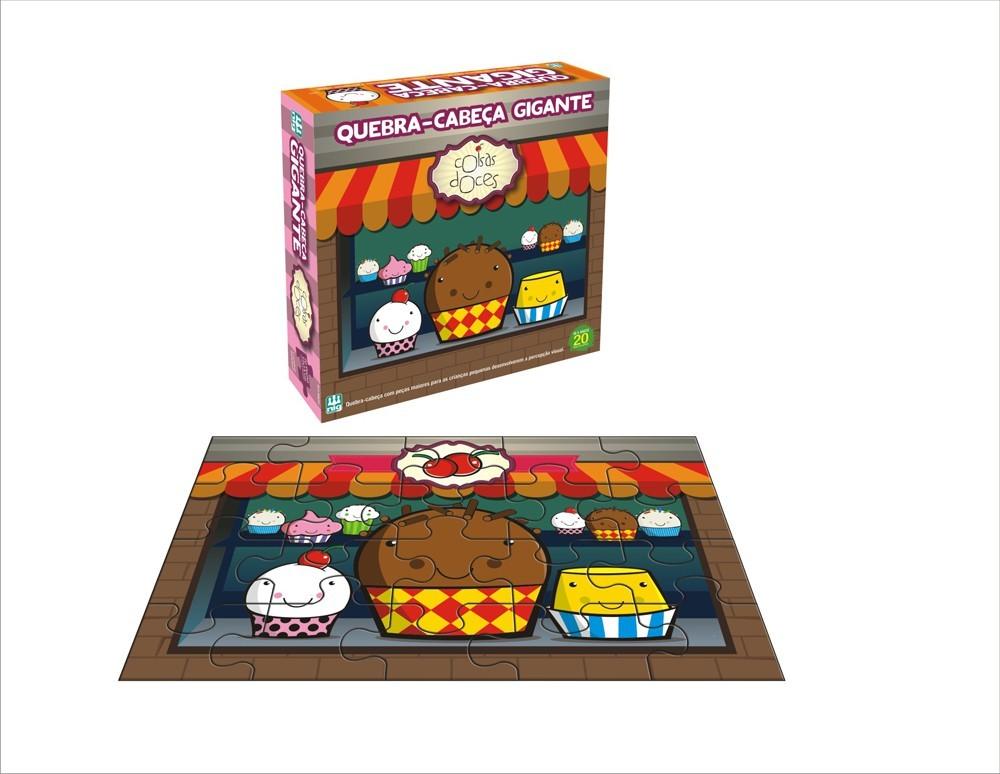 Brinquedo Educativo Quebra Cabeça Gigante Coisas Doces 20 Peças Nig