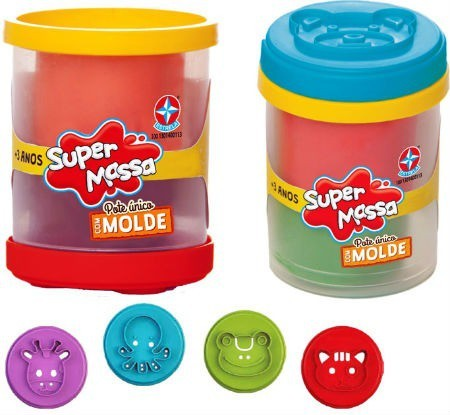 Brinquedo Educativo Super Massa Pote Único Molde Estrela