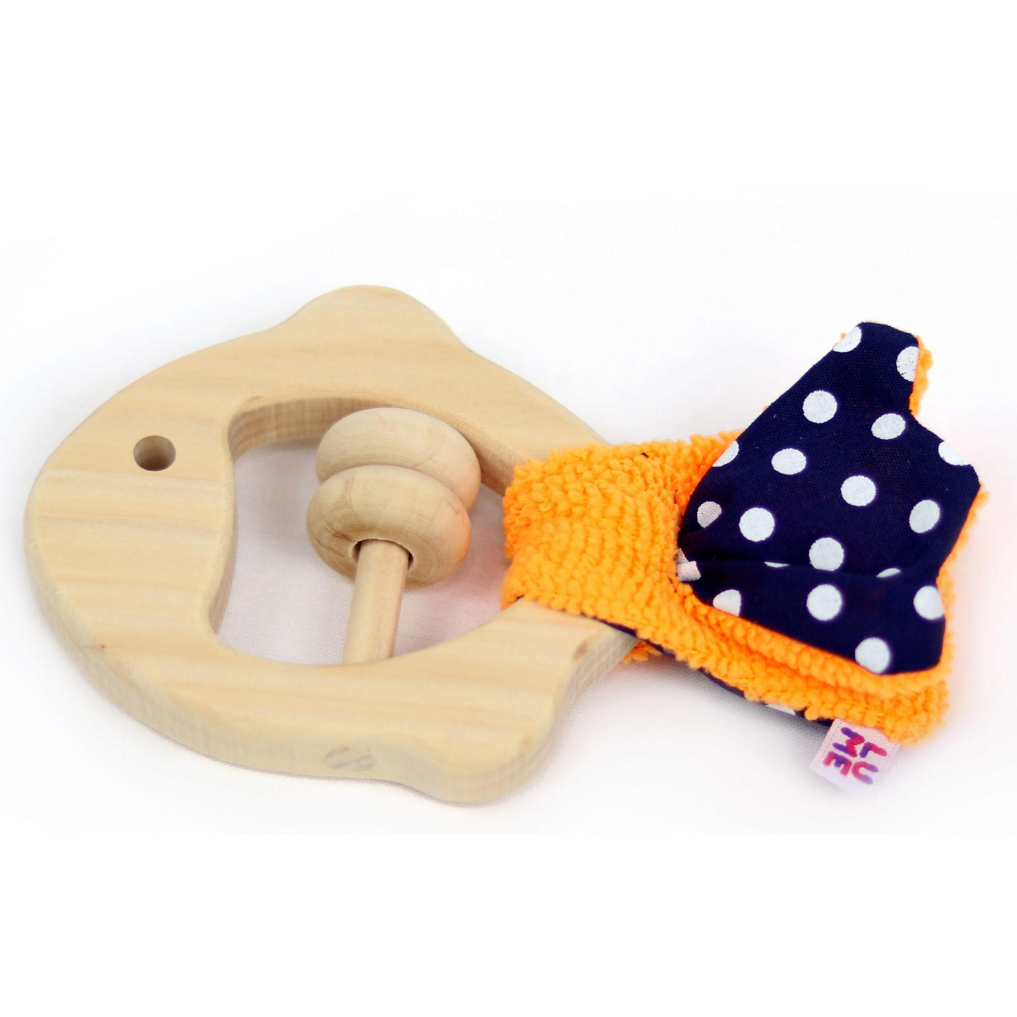 Brinquedo Sensorial Peixe Chocaho de Madeira