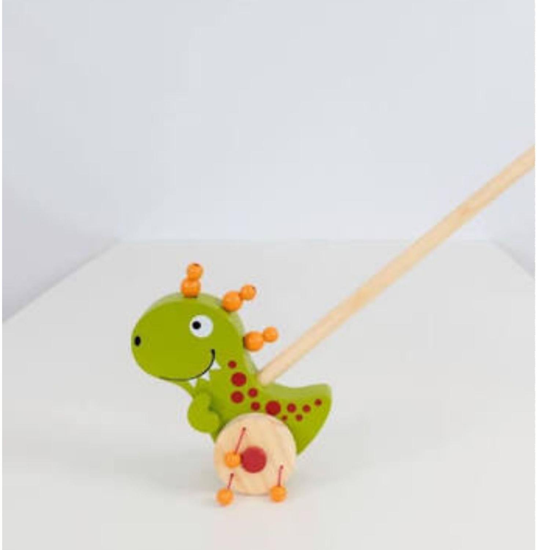 Brinquedos de Empurra de madeira Dino