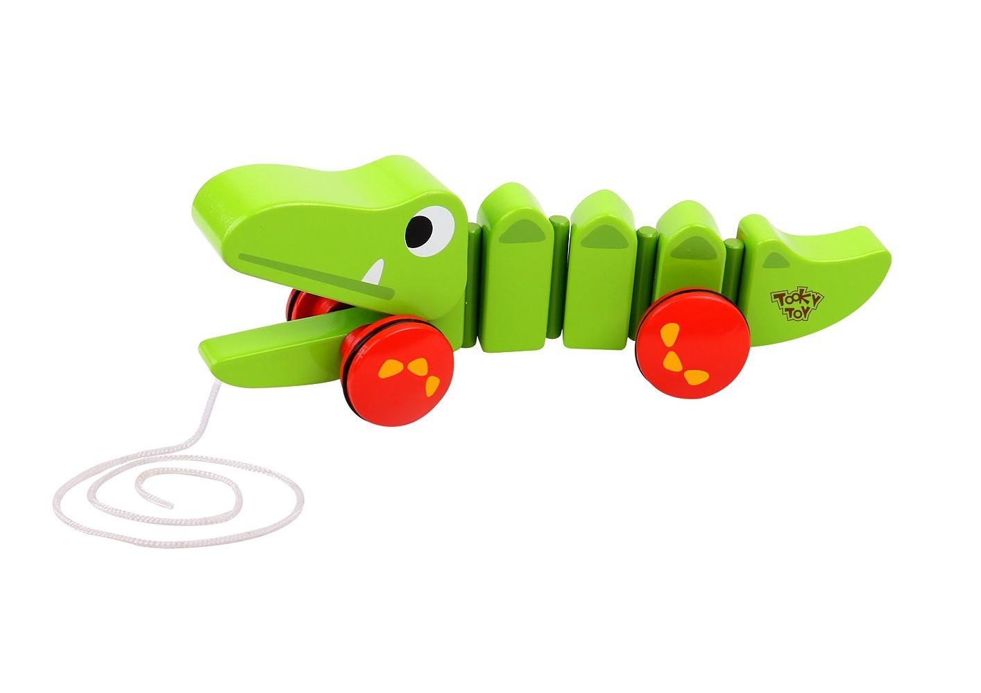 Brinquedos de Madeira Crocodilo de Puxar