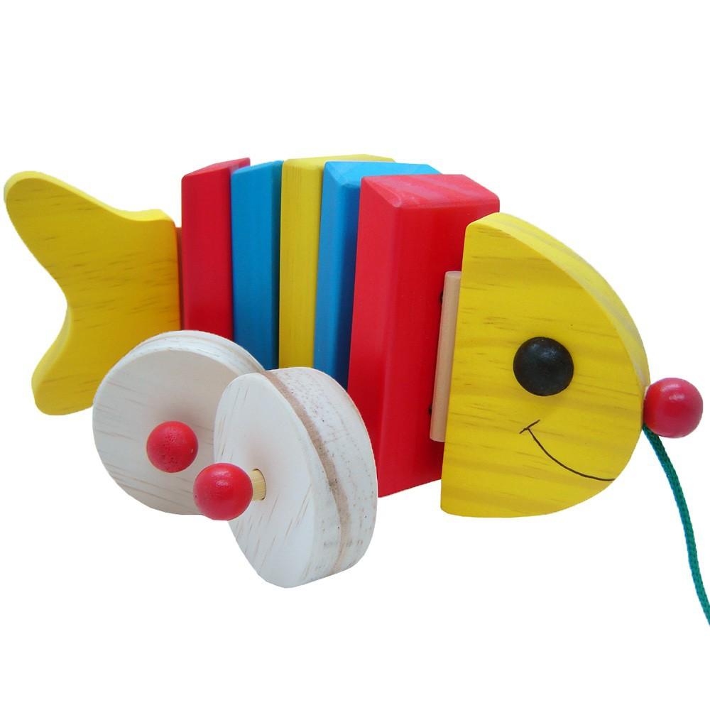 Brinquedos de Madeira Peixe Articulado de Puxar