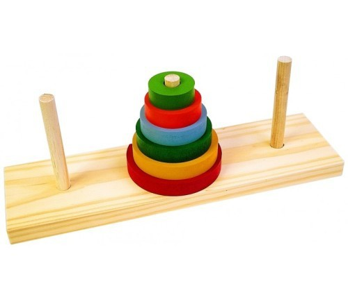 Torre de Hanói Brinquedo Educativo de Madeira