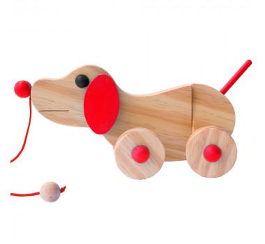 Cachorrinho Articulado Brinquedo de Madeira de Puxar Cores Sortidas