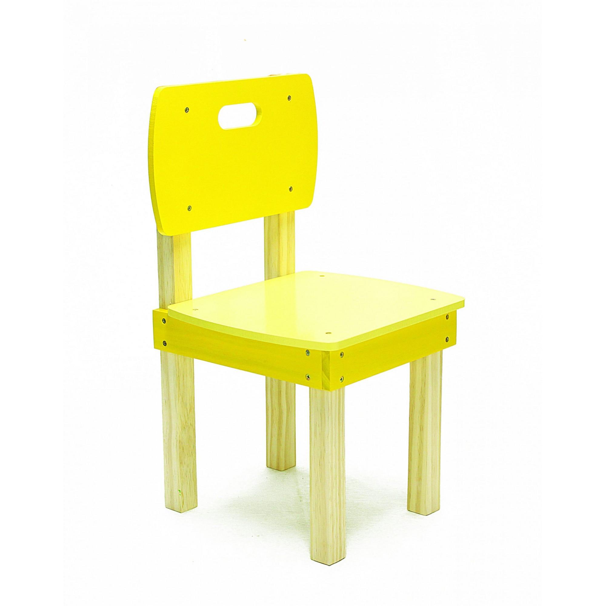 Cadeira Infantil de Madeira Amarela em Pinus