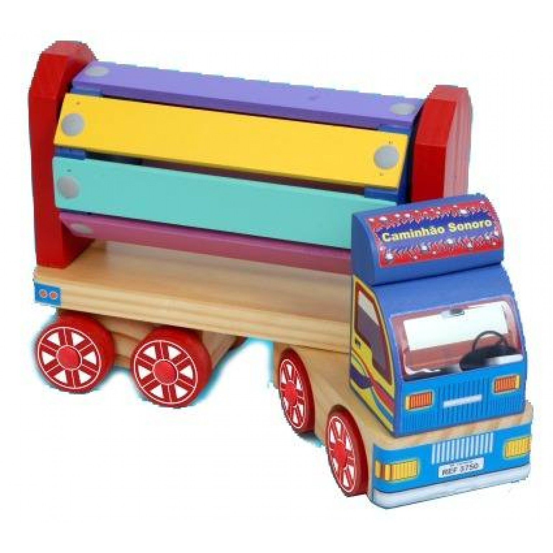 Caminhão Sonoro Brinquedo de Madeira