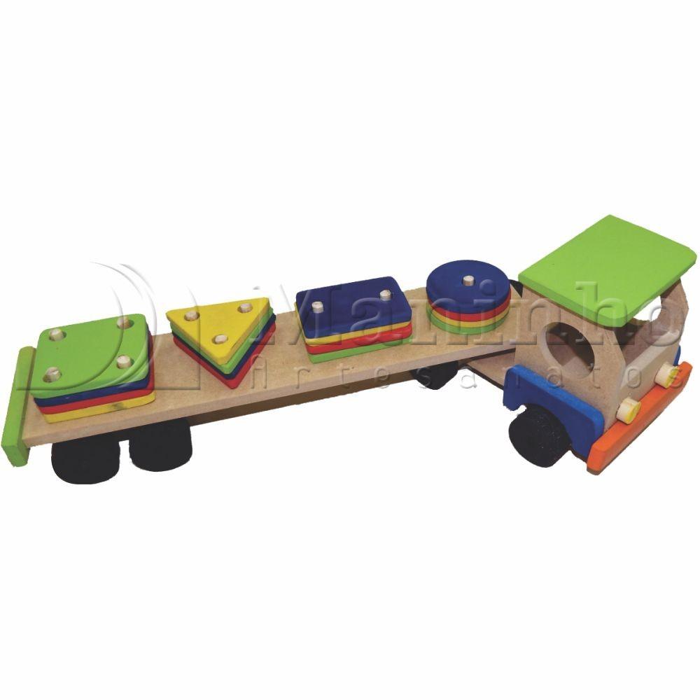 Caminhão de Madeira Carreta Pedagógica