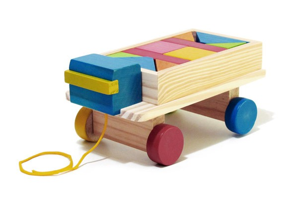 Caminhão de Madeira Educativo Caminhão com 10 Blocos