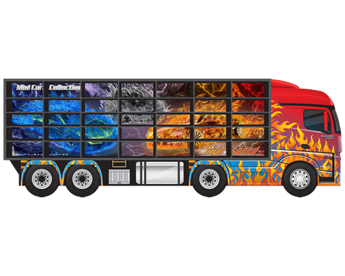 Caminhão de Madeira Painel Expositor para 35 Carrinhos