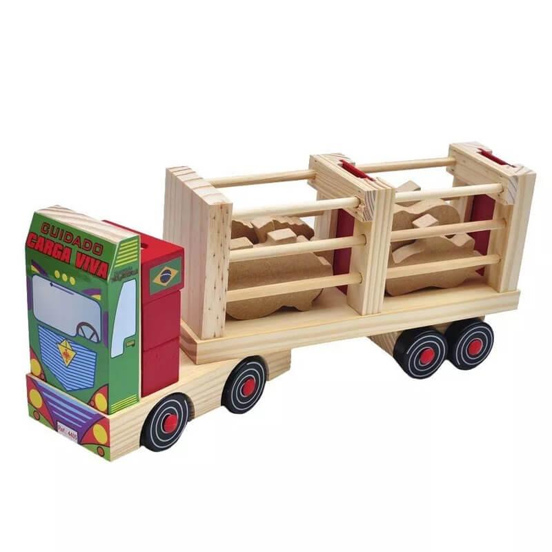 Caminhão Fazendinha Brinquedo de Madeira