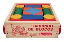 Carrinho de Blocos de Madeira Brinquedo Educativo de Madeira