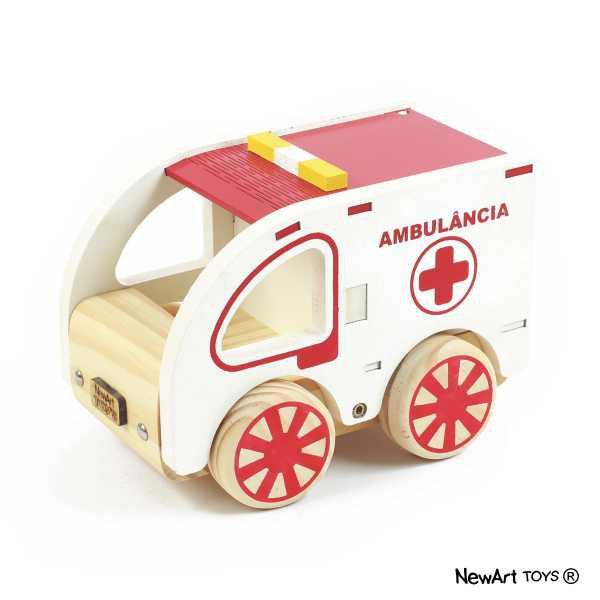 Carrinho de Madeira Coleção Carrinhos Modelo 1 Ambulância