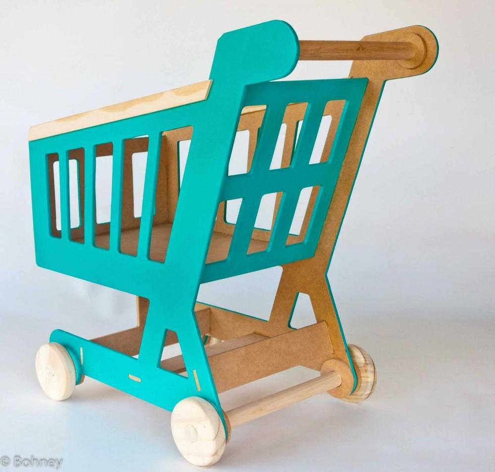 Carrinho de Supermercado Pintado Brinquedo de Madeira